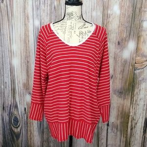 Hot Cotton Red and White Stripe Blouse Size XL